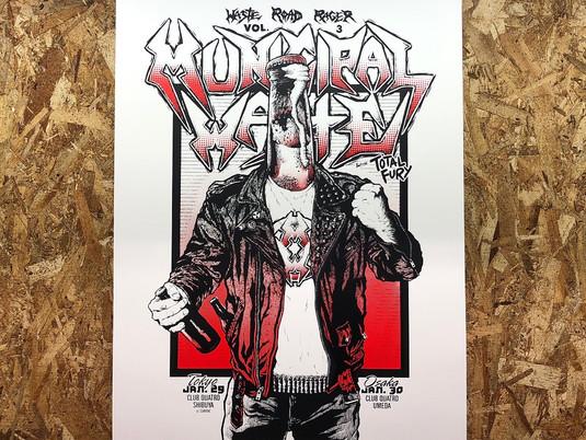 MUNICIPAL WASTE japan tour 2018 A2 silkscreen poster