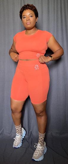 Kay Crop Top Short Set - Orange