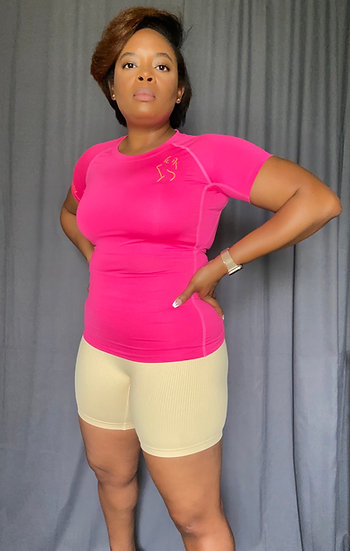 Fitted Short Sleeve Shirt-Neon Pink