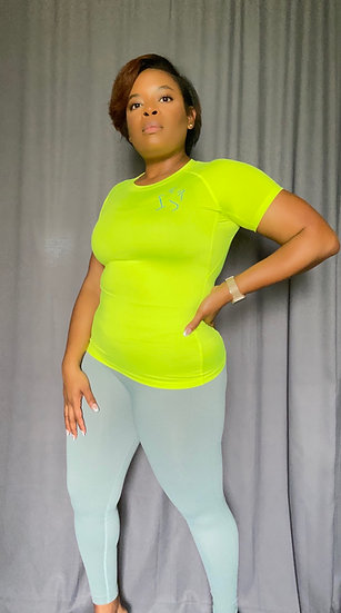 Fitted Short Sleeve Shirt-Neon Yellow