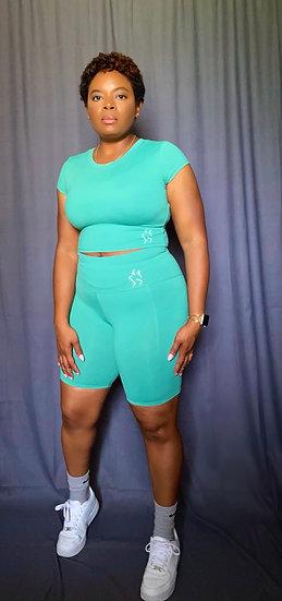 Kay Crop Top Short Set - Green