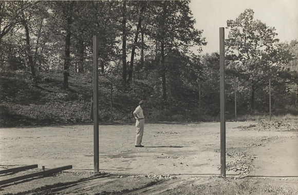 The first tennis court at Bayley Beach during construction, 1953.