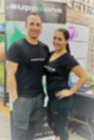 A picture of the Suppzone Directors and their pop-up store of supplements at Anytime Fitness Mosman 2018