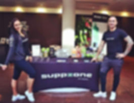 A picture of Suppzone directors and their pop -up store of supplements at the Sydney Latin Festival 2018.