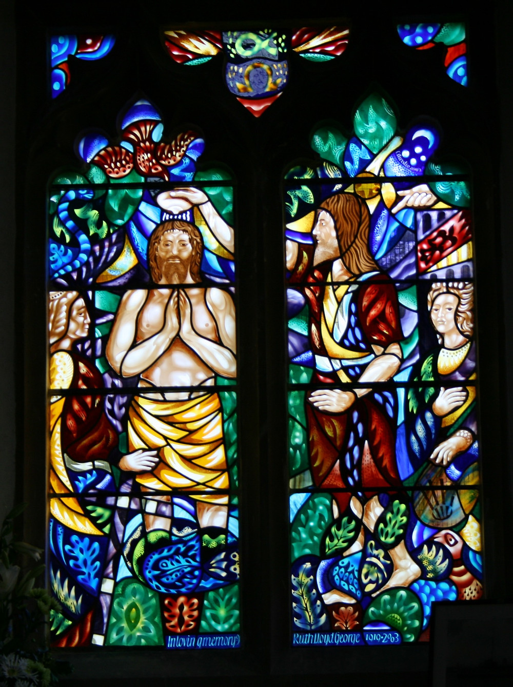The window to the memory of (Countess) Ruth Margaret Lloyd George in  St.John the Baptist, New Alresford