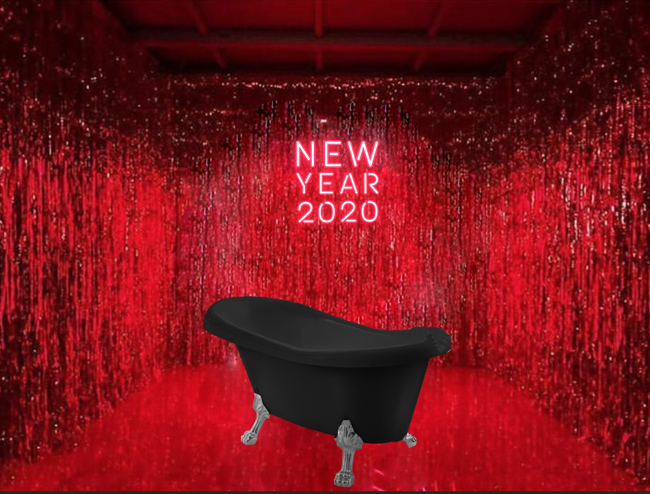 Красная комната с ванной