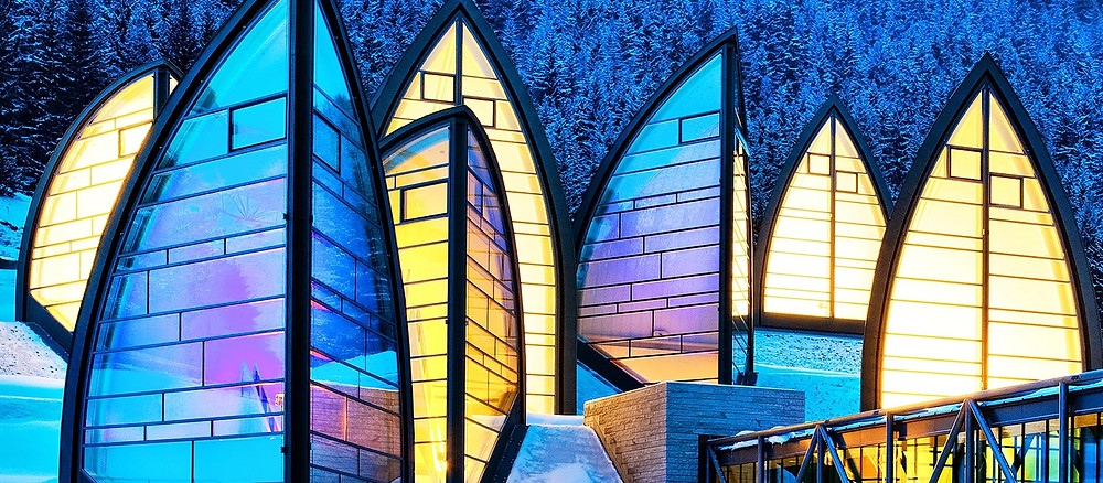 Roofs of the Bergoase Spa at the Tschuggen Grand Hotel in Arosa in Switzerland