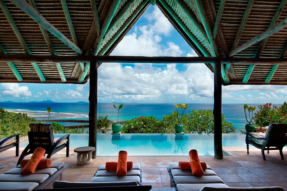 The pool deck at Fregate Island in the Seychelles.