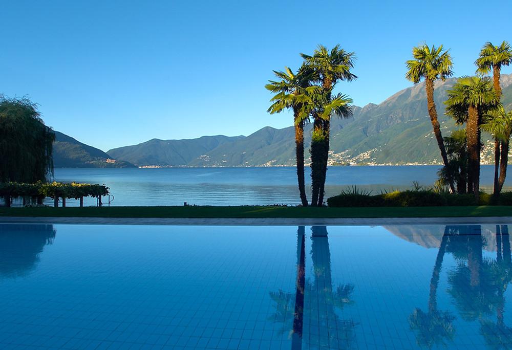 Hotel pool at Hotel Den Roc in Ascona in Switzerland