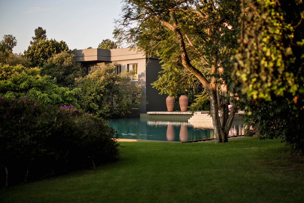The gardens of the Saxon Hotel, Villas, & Spa in Johannesburg, South Africa