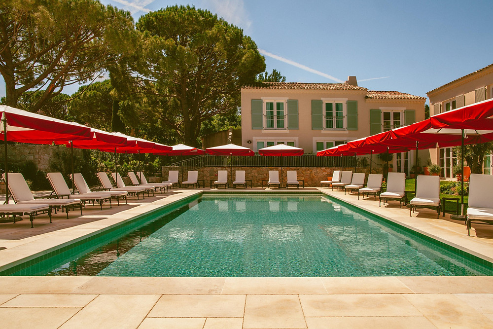 The pool at the Hotel Lou Pinet in Saint-Tropez.