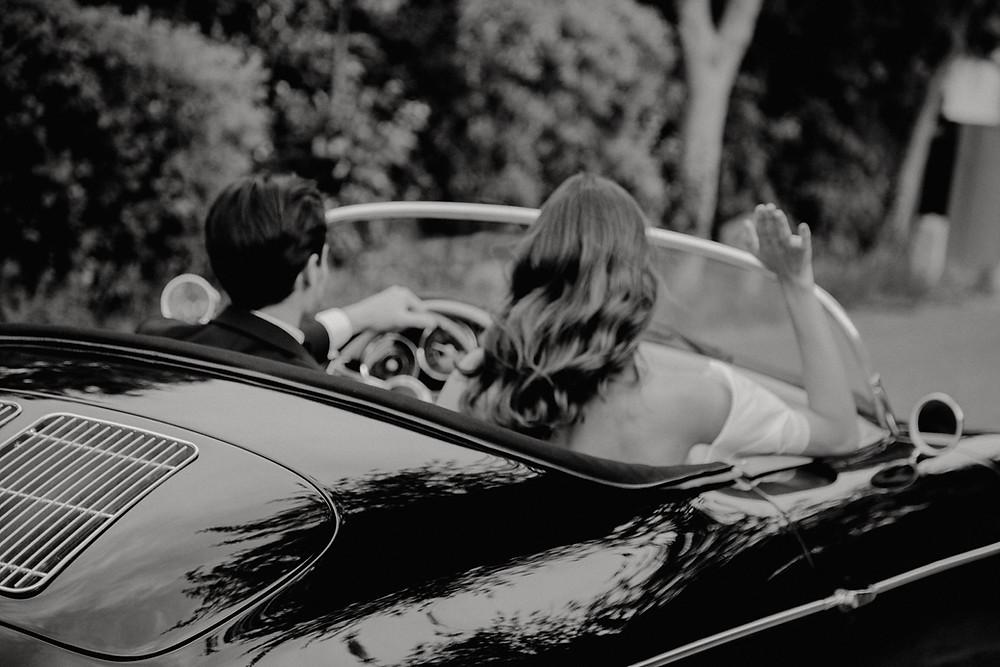 car wedding couple