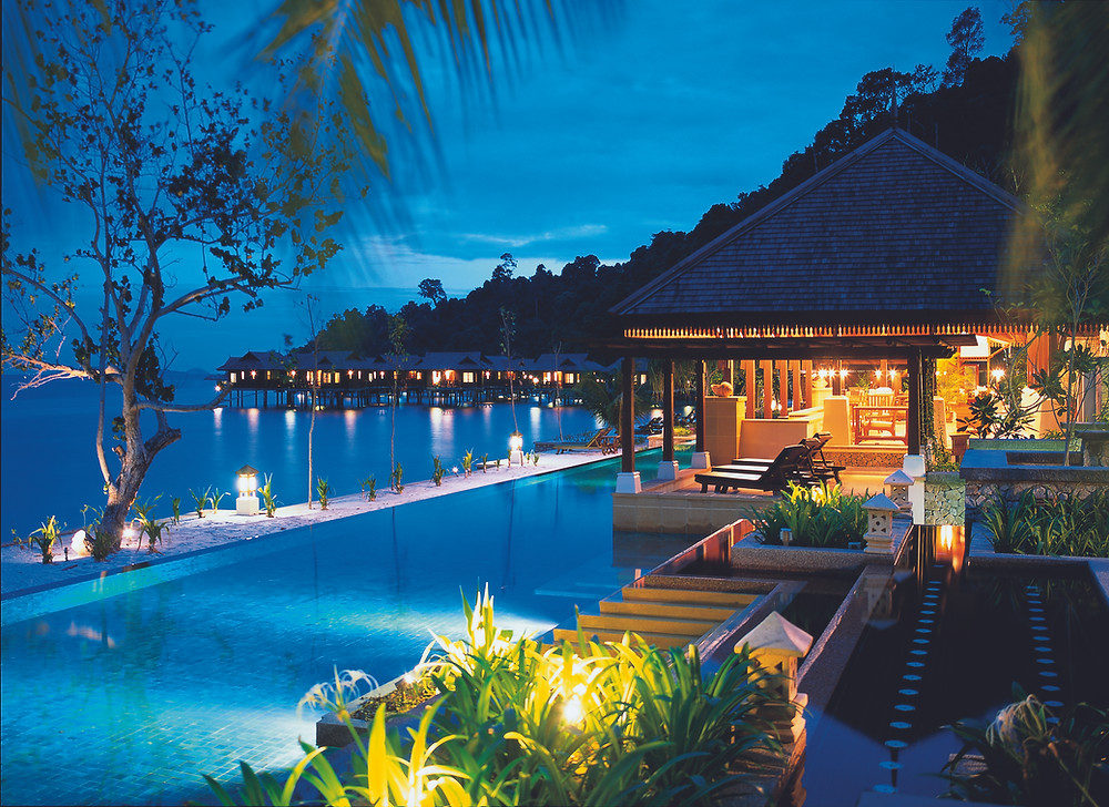 The Pool and Ocean at the Pangkor Laut Resort in Malaysia.