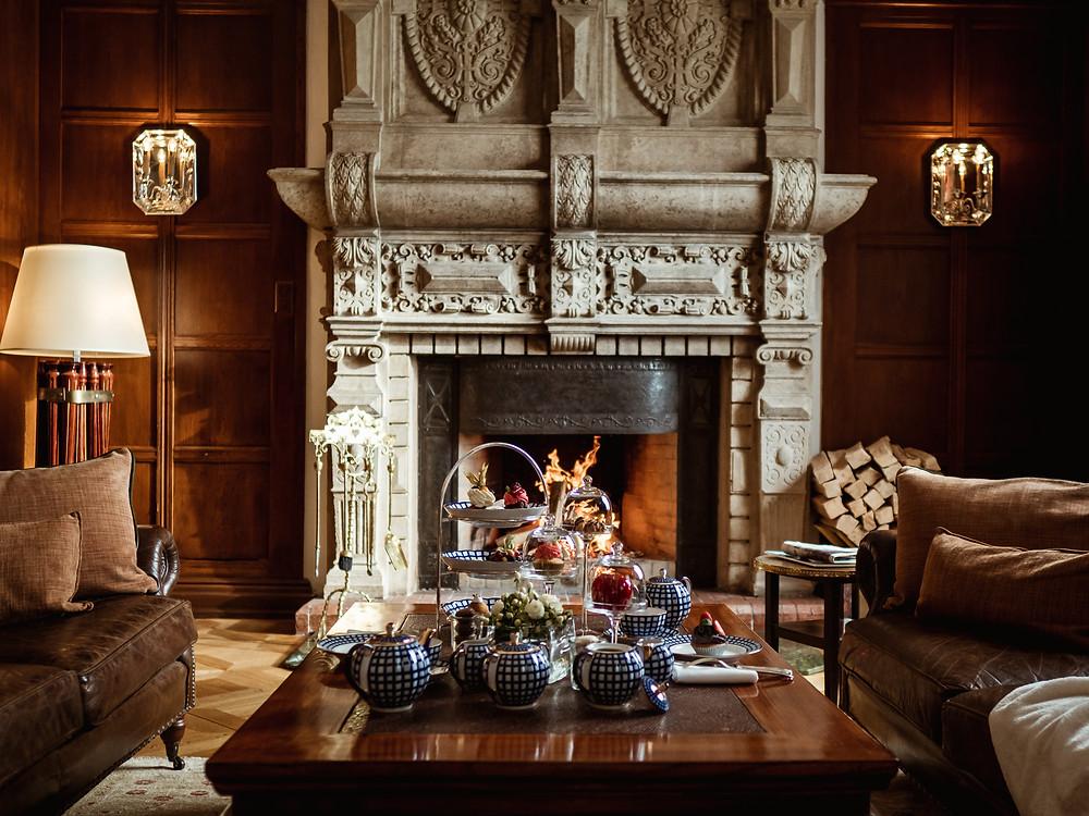 Tea time at the Carlton Hotel St. Moritz.