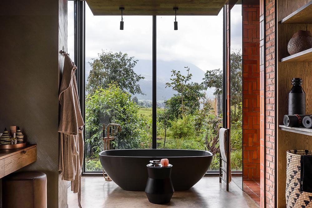 The bathtub at the Singita Kwitionda Lodge in Rwanda.