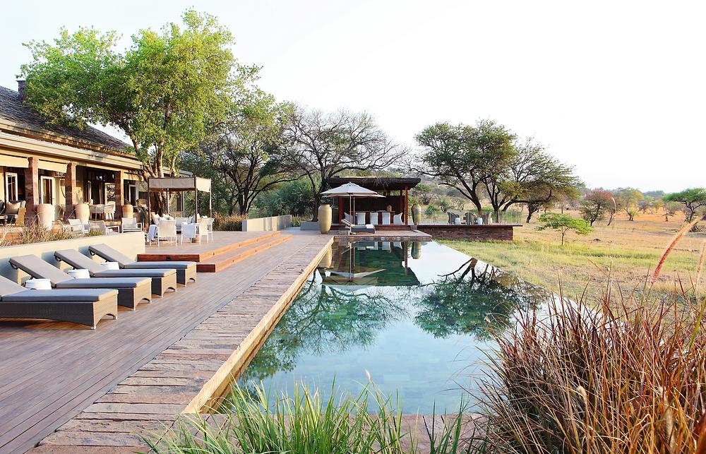 The pool deck at the Singita Serengeti House.