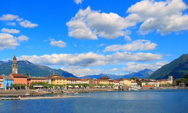 A view of Lake Maggiore from the Hotel Eden Roc in Ascona, Switzerland
