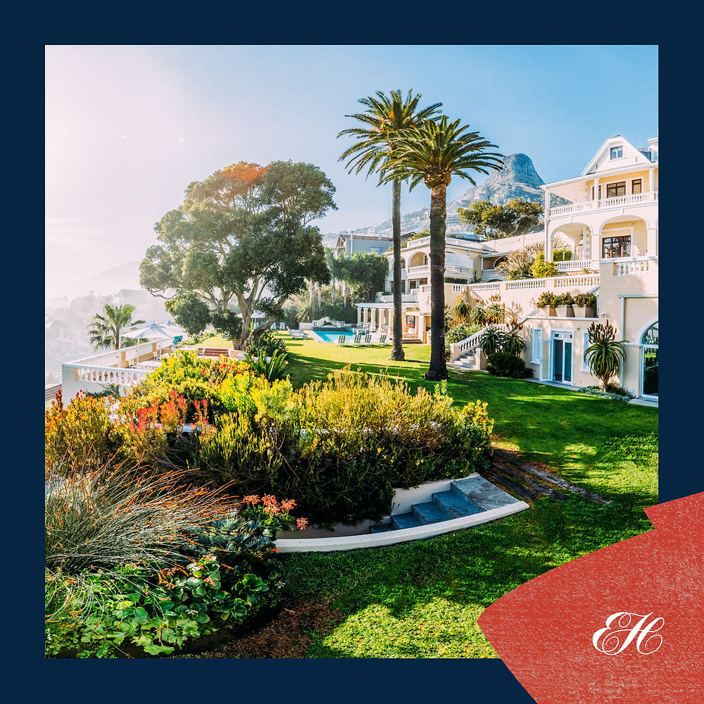 the gardens and ocean view at Ellerman House in Capetown, South Africa