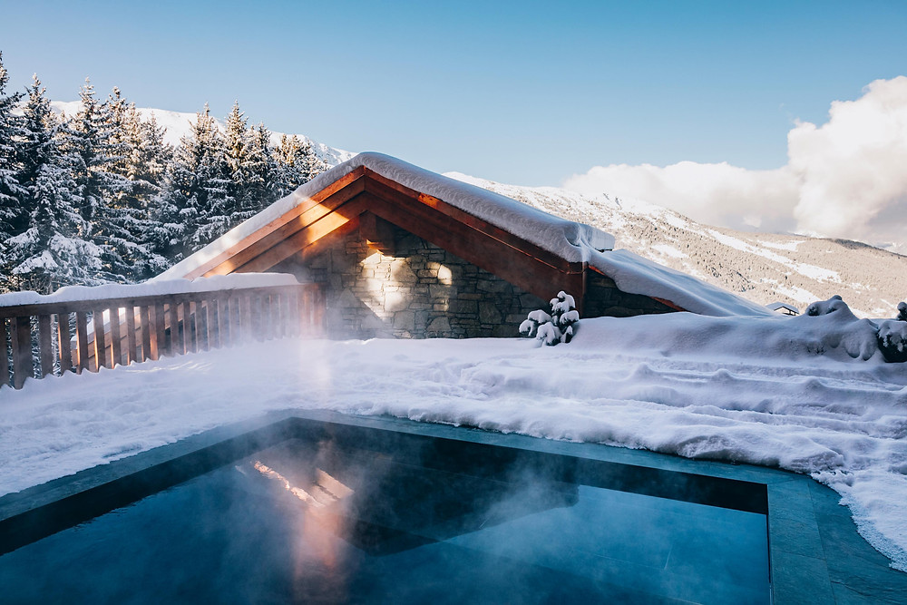 The hot tub at LeCouCou in Meribel, France, a Maisons Pariente Hotel.
