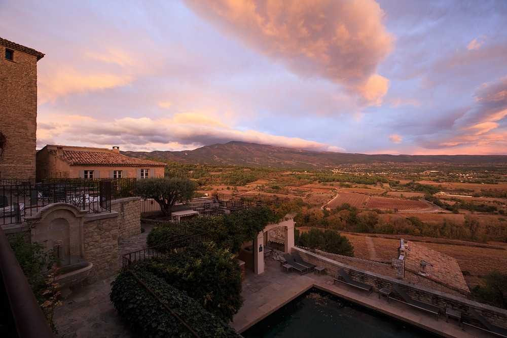 Sunset at Crillon Le Brave, a Maisons Pariente Hotel in Provence, France.