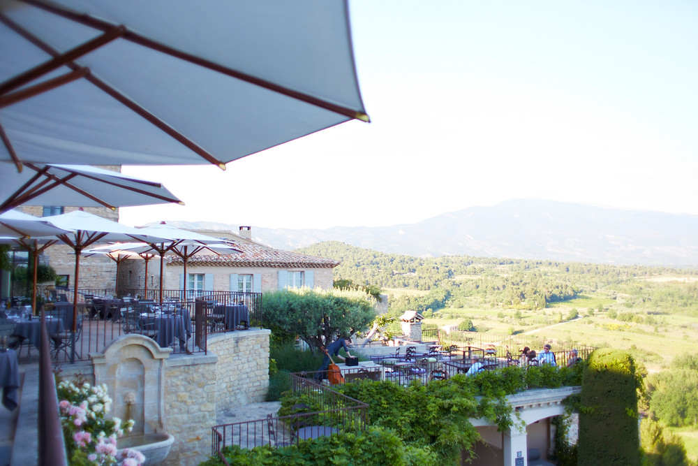The patio overlooking the hills of Provence at the Hotel Crillon Le Brave.