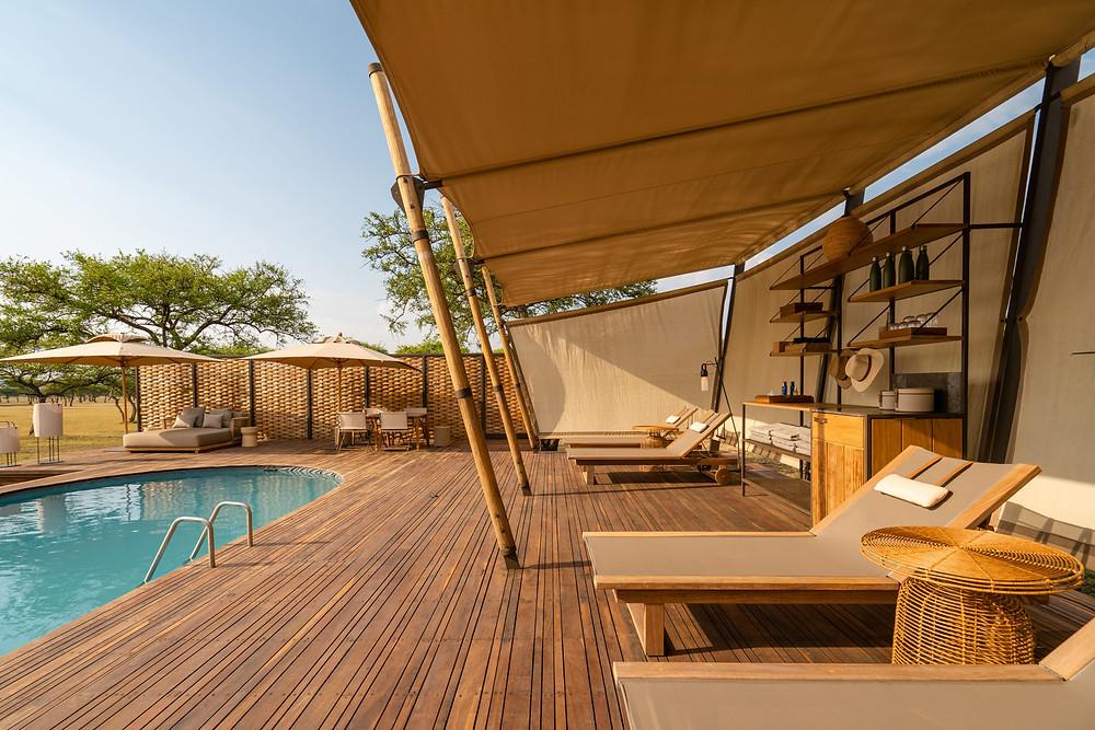 The pool at Singita Sabora Tented Camp
