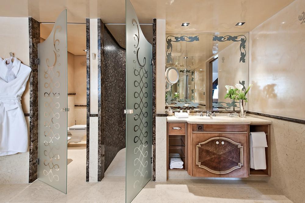 The bathroom at the Carlton Hotel, St. Moritz, a Tschuggen Hotel.