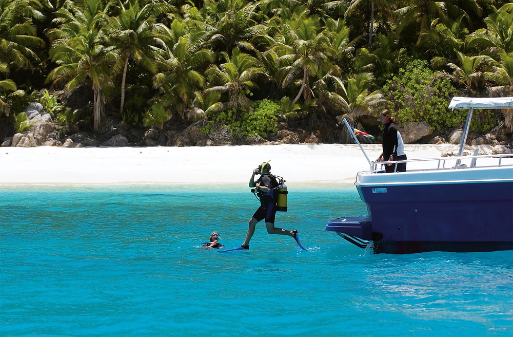 Scuba diving at the private yacht club with Fregate Island Private in the Seychelles.