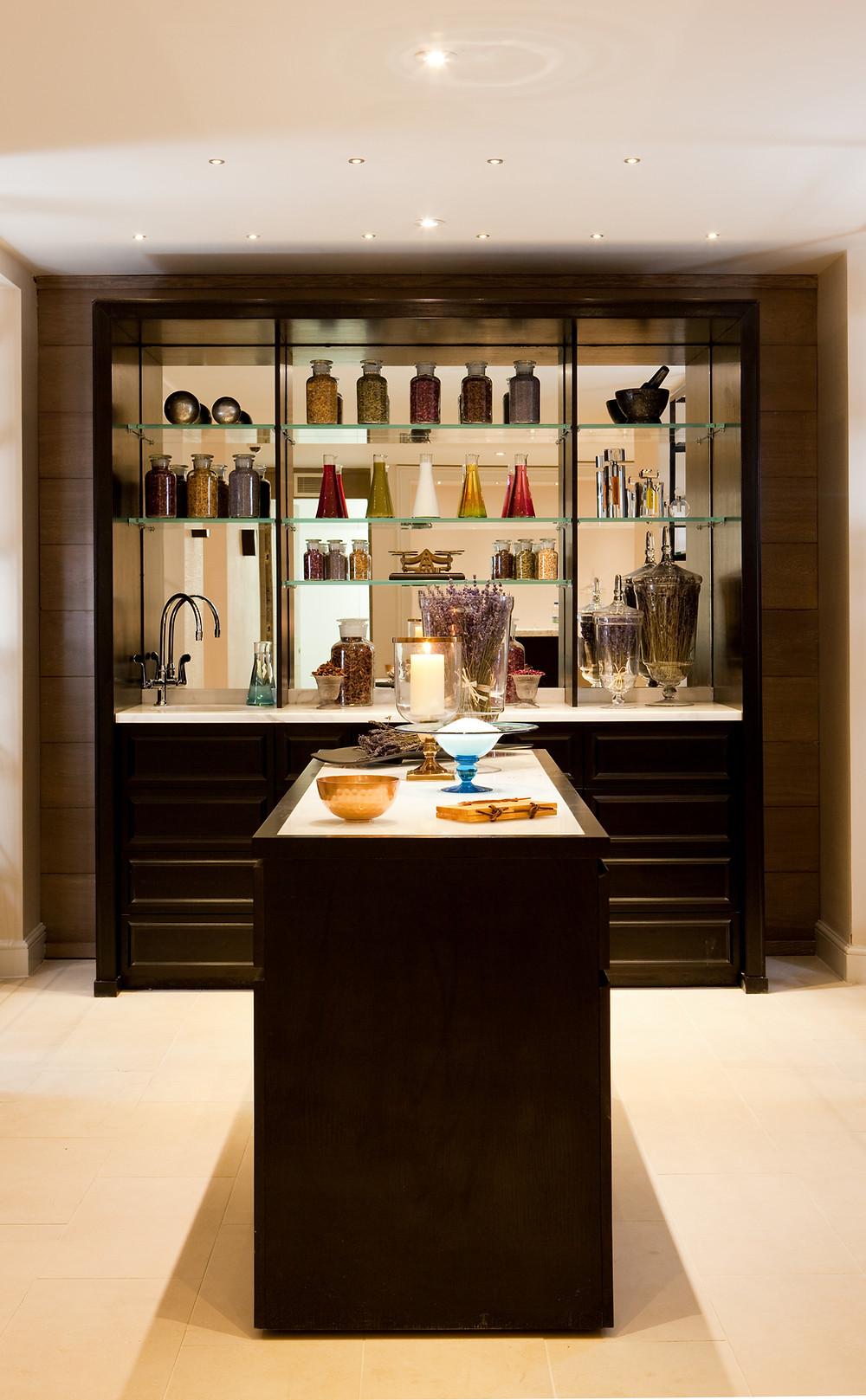 The aromatheraphy bar at the Gainsborough Bath Spa in Bath, England, a YTL Hotel.