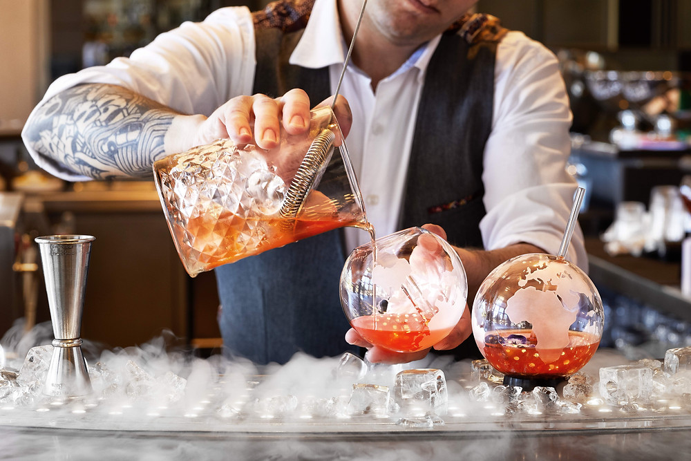 The bartender at Hotel Arts Barcelona in Spain