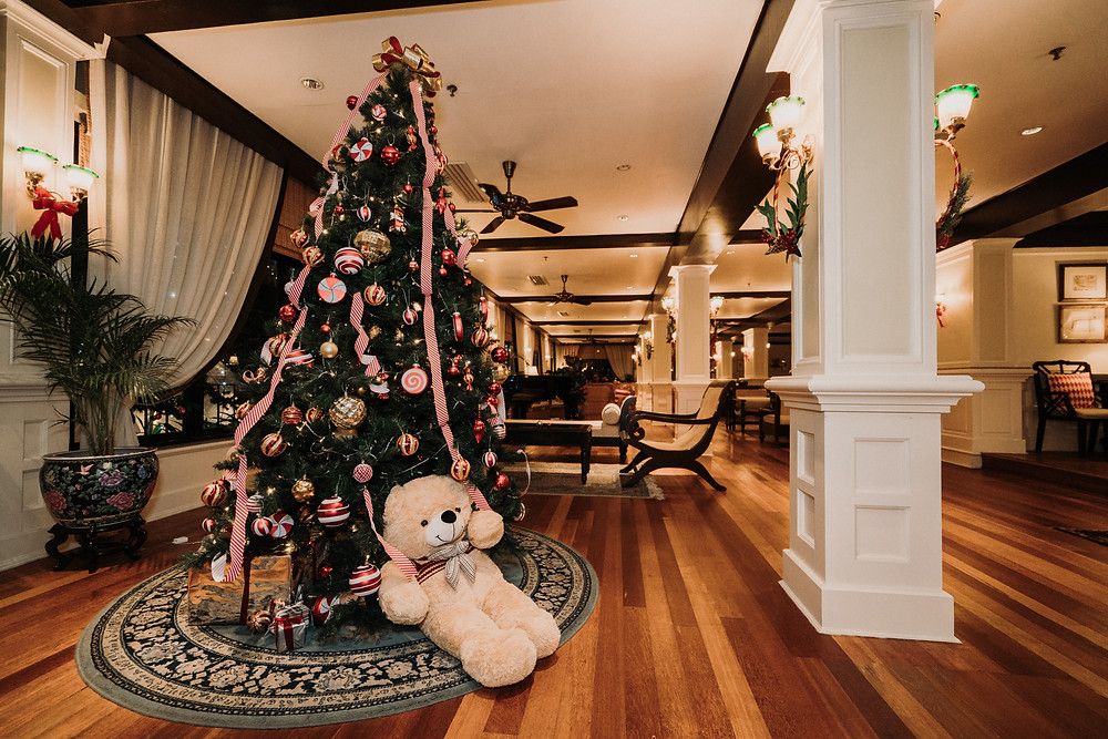 A Christmas tree in the lobby of the Cameron Highlands Resort