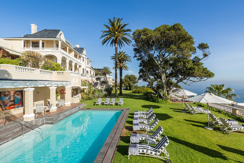 The lawn and pool at Ellerman House in Cape Town, South Africa.