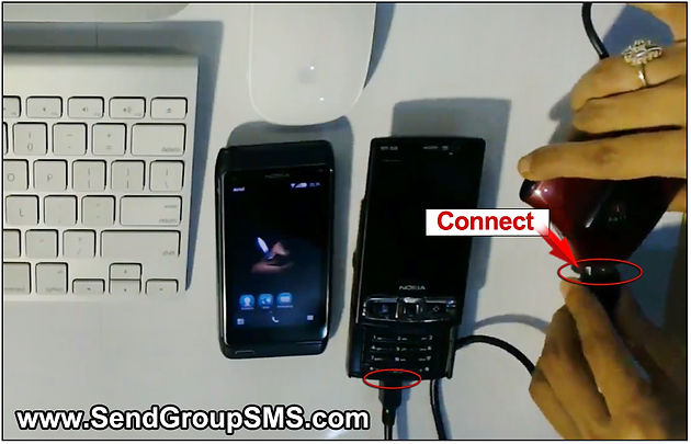 Steps to send text messages using Nokia N95 GSM Phone with Mac Machine