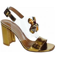 eded7720d Sandália de salto grosso, metade do cabedal acompanha a cor da sandália,  que é o ouro velho e a outra parte, do peito do pé de vinil transparente,  ...