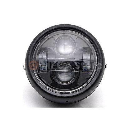 Phare rond 4 LED métal/verre