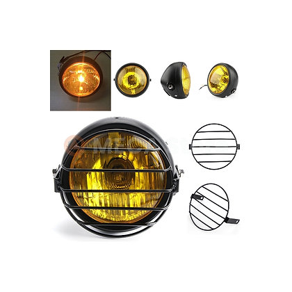 Phare rond vintage universel avec grille