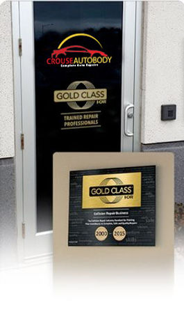 I-Car Gold Class Shop photo of certification on door