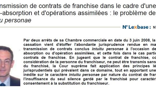 FR : La transmission de contrats de franchise ...