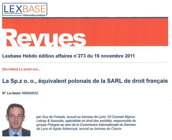 FR : La Sp.z o. o., équivalent polonais de la SARL de droit français