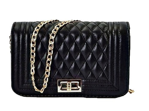 Small Black Quilted Crossbody Bag