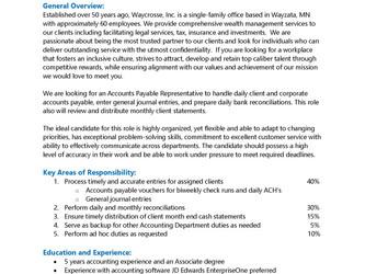 Job Opportunity at Waycrosse - Accounts Payable Representative