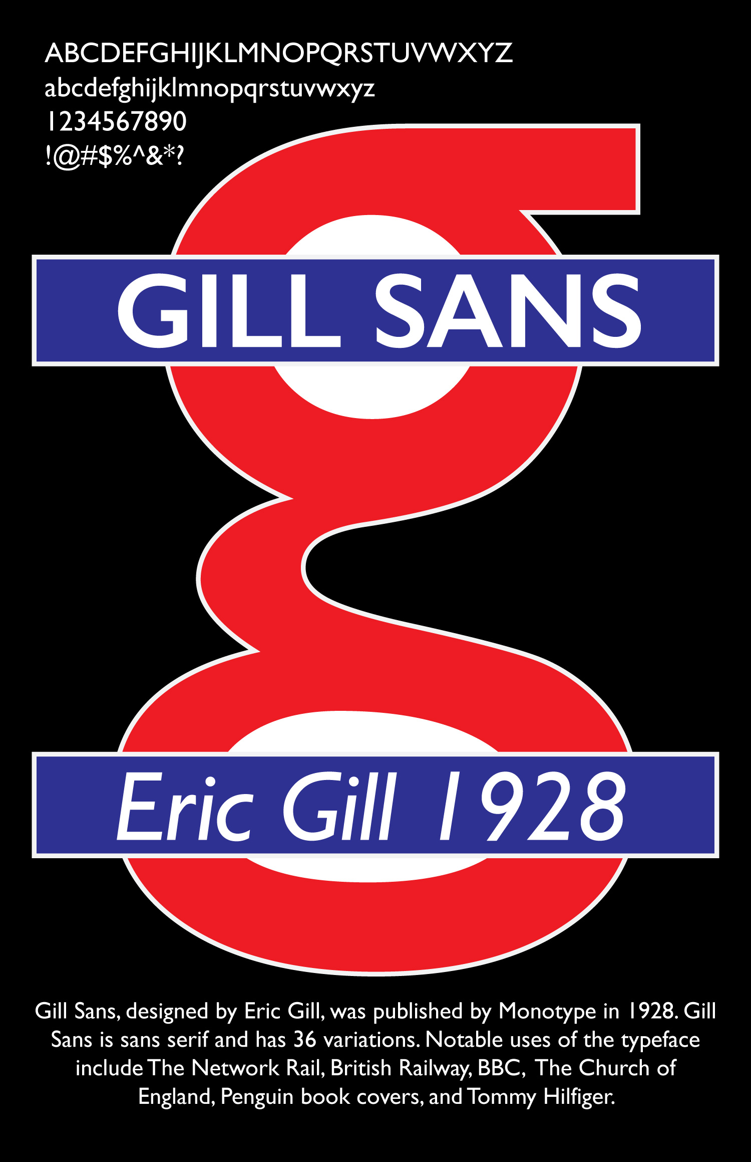 Poster about Gill Sans typeface