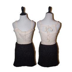 Crocheted white tank and black skirt