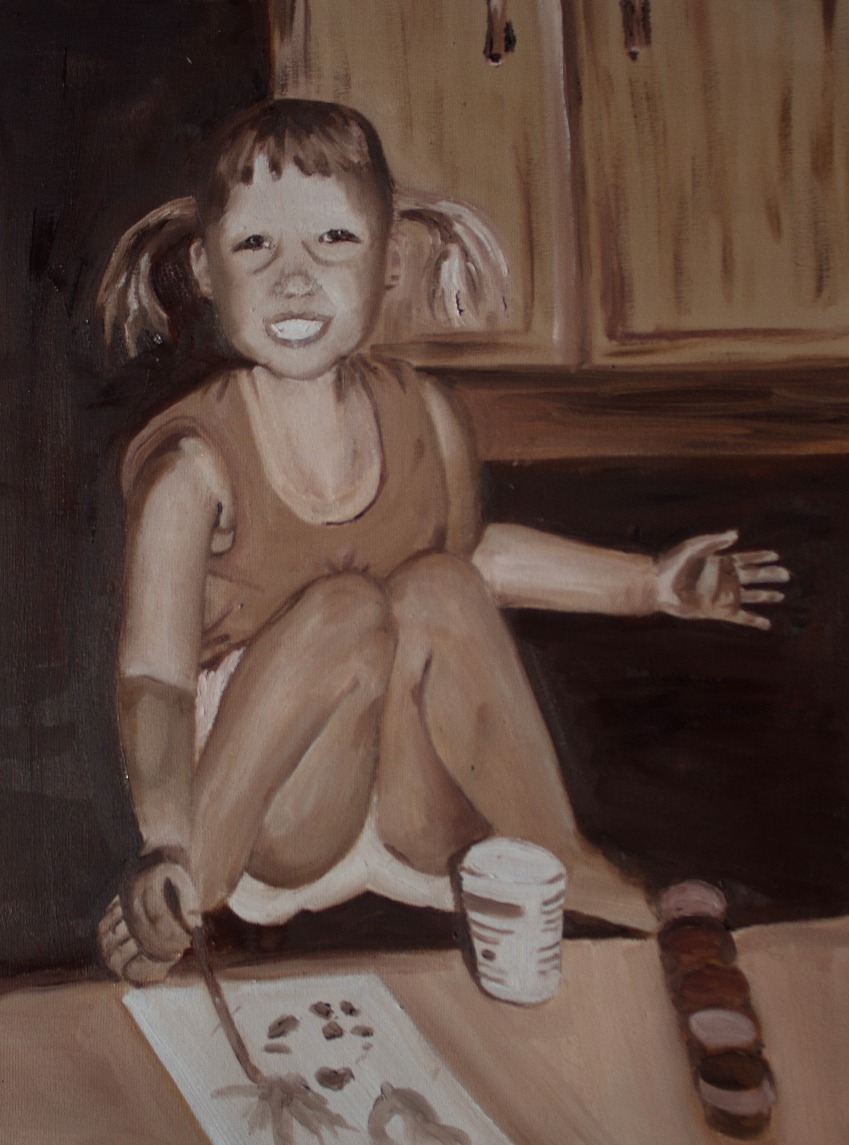 Portrait of a piggy-tailed painter