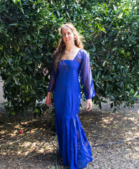 Royal blue dress with mesh sleeves and godets