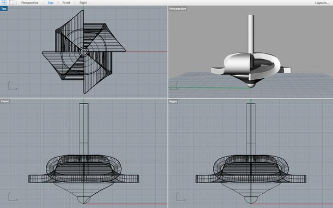 Pinwheel Top design in Rhino