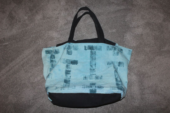Hand-dyed canvas, sewn into large tote bag with zip-top