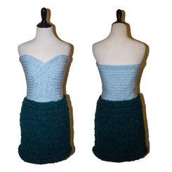 Crocheted light blue tank and green skir