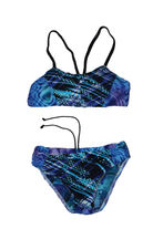 Upcycled swimsuit made from pieces of another swimsuit