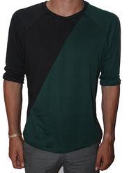 Torin wearing a Black and Green 3/4 Sleeve Raglan Shirt